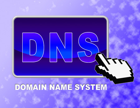 dns: Dns Button Indicating Domain Name Server And Searching