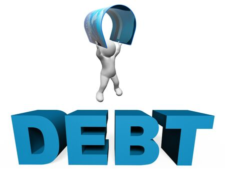 indebted: Debt Credit Card Indicating Financial Obligation And Broke 3d Rendering
