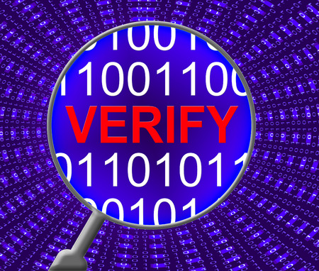 verify: Verify Security Indicating Web Site And Monitor Stock Photo