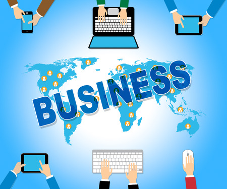 net trade: Business Online Representing Web Site And Commerce Stock Photo