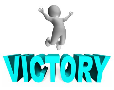 triumphant: Victory Character Representing Active Successful And Jumps 3d Rendering