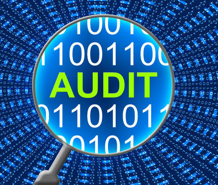 audits: Computer Audit Showing Finance Keyboard And Computers Stock Photo