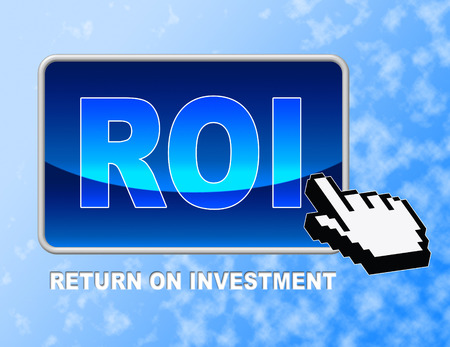 rate of return: Roi Button Indicating Rate Of Return And investment Stock Photo