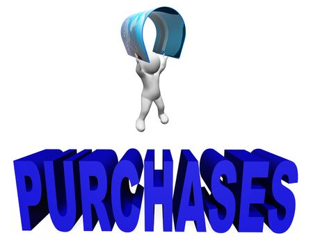 purchases: Credit Card Purchases Representing Debt And Purchasing 3d Rendering Stock Photo