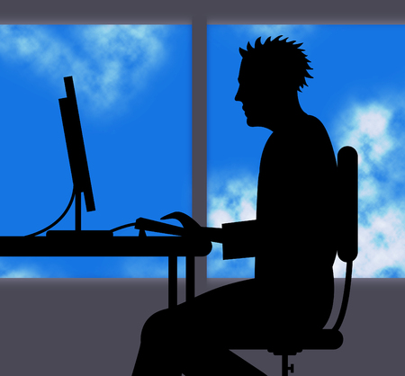 hard to find: Man Working Online Representing Web Adult And Pc Stock Photo
