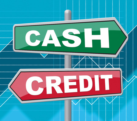 Cash Credit Signs Indicating Cashless And Debt Stock Photo