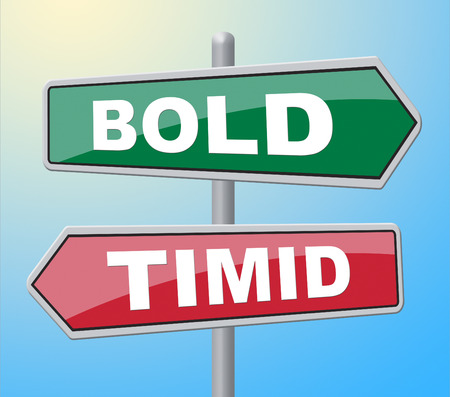 timid: Bold Timid Representing Fear Confident And Shy Stock Photo