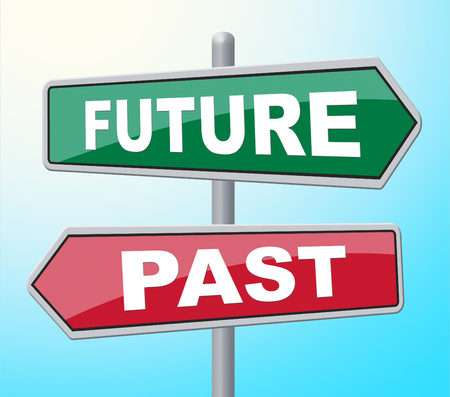 earlier: Future Past Showing Long Ago And Prophecy Stock Photo