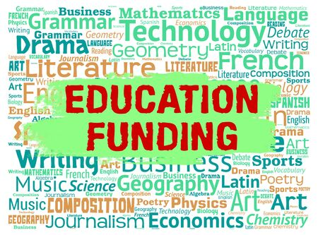 funded: Education Funding Meaning Fundraising School And Money Stock Photo