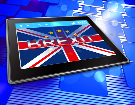 remain: Brexit Tablet Showing Britain Remain Online And Kingdom Stock Photo