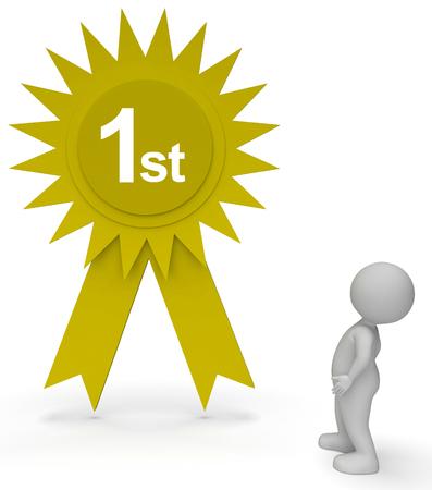primer lugar: Primer lugar del rosetón que indica el progreso de ganar y Victous Representación 3d Foto de archivo