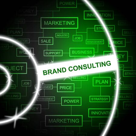 brand identity: Brand Consulting Meaning Company Identity And Word Stock Photo