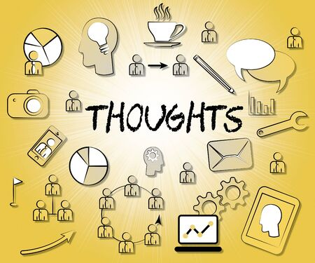 considering: Thoughts Icons Meaning Considering Reflecting And Contemplation Stock Photo