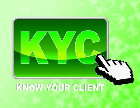 Kyc Button Reprezentowanie Know Your Client i witryny sieci Web Zdjęcie Seryjne
