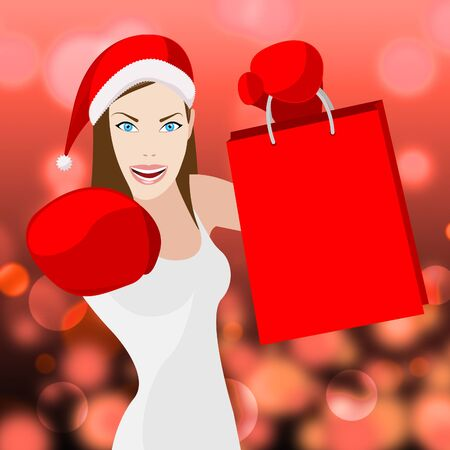merchandiser: Christmas Shopping Woman Meaning Retail Sales And Merchandiser
