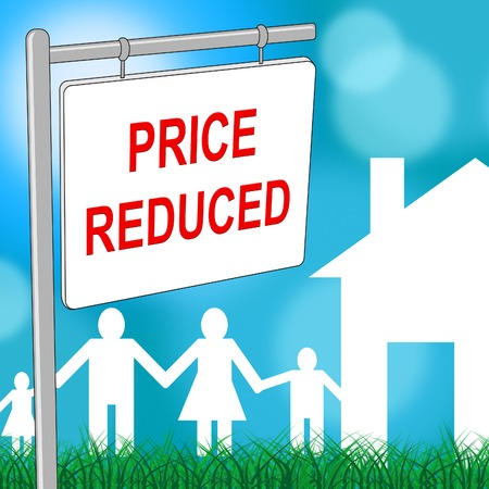 promotional offer: House Price Reduced Representing Offer Bargain And Promotional Stock Photo