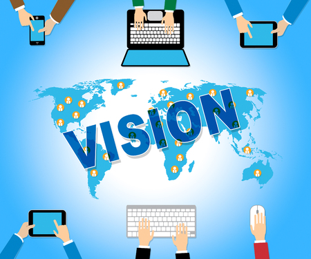 biz: Business Vision Showing Web Site And Network