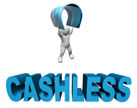 moneyless: Cashless Credit Card Showing Point Of Sale And Point Of Sale 3d Rendering