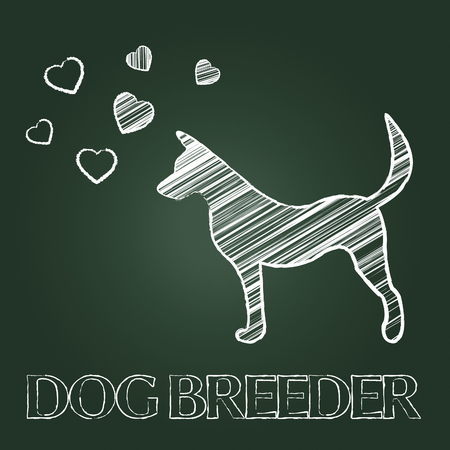 breeder: Dog Breeder Indicating Puppy Offspring And Reproducing