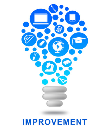 upgrading: Improvement Lightbulb Meaning Upgrading Evolution And Growing Stock Photo