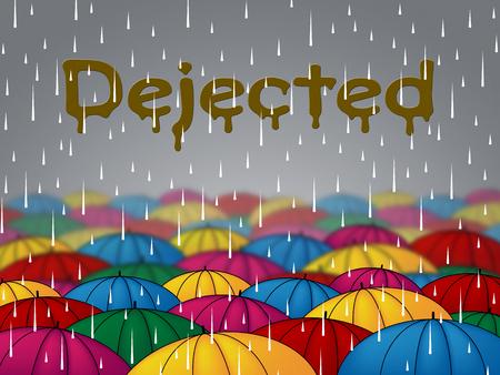 cabizbajo: Lluvia abatido Representando infeliz Doldrums y abatido Foto de archivo