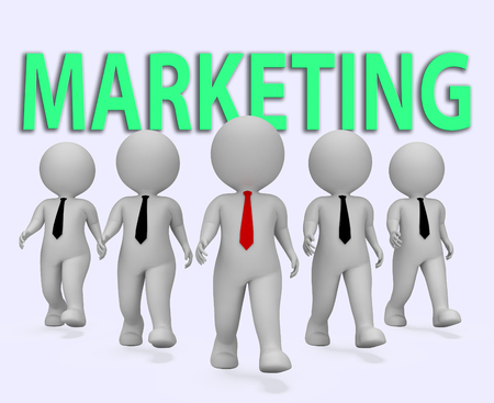 emarketing: Marketing Businessmen Meaning Ecommerce Seo And Entrepreneurs 3d Rendering