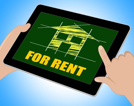 apartment for rent: For Rent Showing Layout Apartment And Plans Tablet Stock Photo