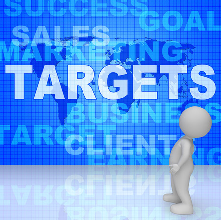 forecasts: Targets Words Meaning Forecast Goals And Aiming 3d Rendering Stock Photo