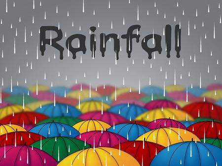 precipitacion: Paraguas lluvia Mostrando Duchas lluvias y parasol Foto de archivo