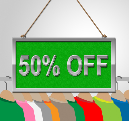 discounted: Fifty Percent Off Indicating Half Price And Template Stock Photo