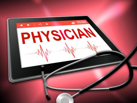 quack: Physician Tablet Representing Medical Person And Quack