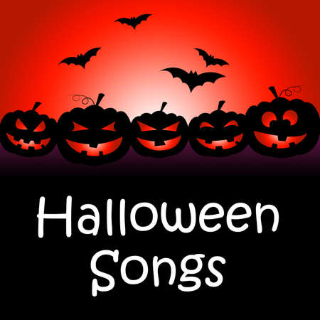 Halloween Songs Showing Trick Or Treat And Sound Track Stock Photo