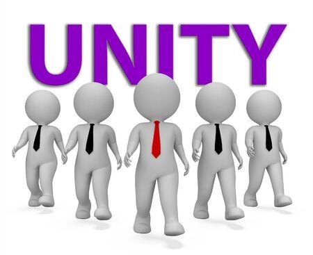 Jedność Biznesmeni Reprezentują Pracujący Wpólnie I Zjednoczenia 3d rendering Zdjęcie Seryjne