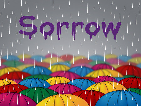 Sorrow Rain Representing Grief Stricken And Wet