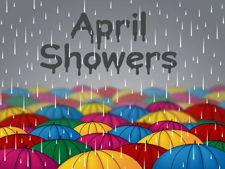 showers: April Showers Indicating Rain Rained And Parasols