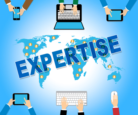 Business Expertise Indicating Web Site And Network Stock Photo