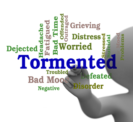 Tormented Word Showing Suffering Abuse And Tormenting 3d Rendering
