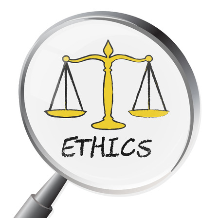 ethos: Ethics Magnifier Meaning Moral Stand And Virtues Stock Photo