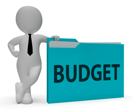 budgets: Budget Folder Showing Office Budgeting And Organization 3d Rendering