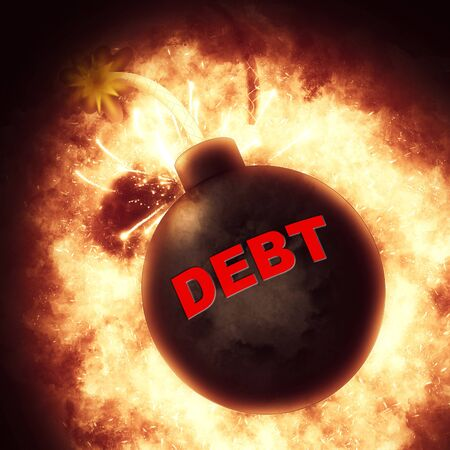 indebt: Debt Bomb Showing Financial Obligation And Bankruptcy