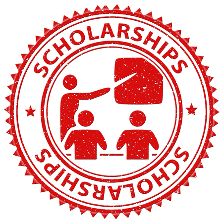 learned: Scholarships Stamp Showing Education Learned And Diploma
