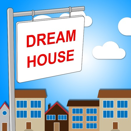 wish desire: Dream House Representing Property Sign And Houses Stock Photo