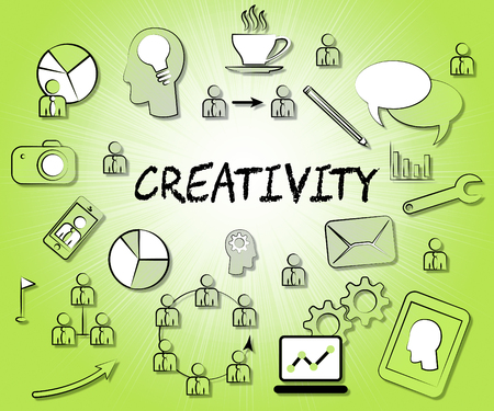 inspired: Creativity Icons Indicating Imaginative Idea And Inspired Stock Photo