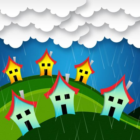 showers: Rainy Houses Showing Habitation Homes And Showers