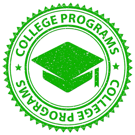 programs: College Programs Showing Tutoring Stamps And Training Stock Photo