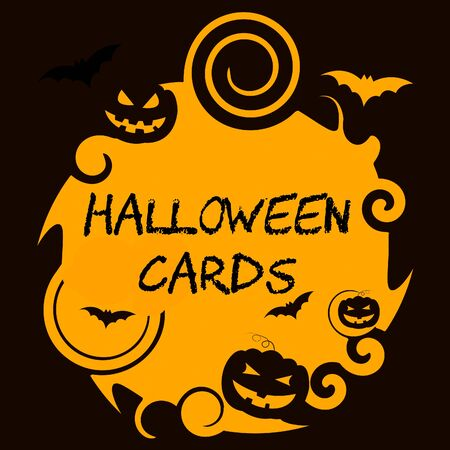 haunting: Halloween Cards Showing Trick Or Treat And Celebration Greetings Stock Photo