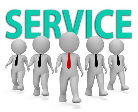 entrepreneurial: Service Businessmen Showing Help Desk And Entrepreneurial 3d Rendering
