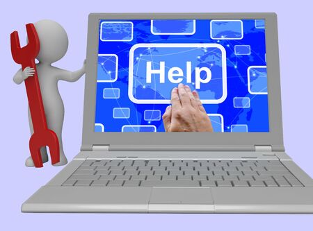 inform information: Help Button Shows Assistance Support And Answers 3d Rendering Stock Photo