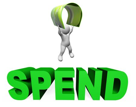 spend: Spend Credit Card Indicating Debt Commerce And Shopping 3d Rendering Stock Photo