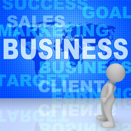 business words: Business Words Meaning Selling Biz And Commercial3d Rendering